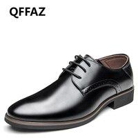 QFFAZ 2018 Men Wedding Dress Shoes Black Brown Oxford Shoes Formal Office Business British Lace Up