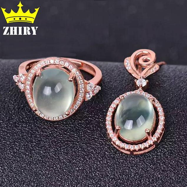 Здесь продается  Natural Prehnite Jewelry Sets Gemstone Real 925 Sterling Silver Women Ring Chain Pendants  Ювелирные изделия и часы