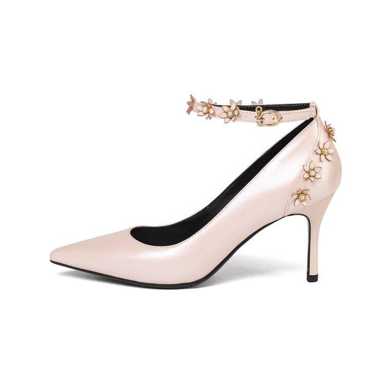 Sandales Bride Pointu Robe Vache Sexy Minces Bout D'été À Femmes {zorssar} Véritable 2018 Cheville Cuir Chaussures Rose En blanc Talons La wUEPXZx