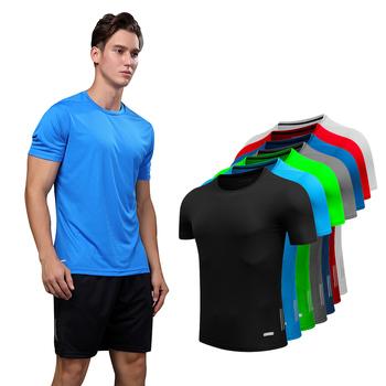 Koszulka męska koszulka gimnastyczna dry fit koszulka do biegania siłownia męska odzież sportowa siłownia męska sportowa koszula męska koszulka gimnastyczna koszulka męska fitness tanie i dobre opinie BAOGEYANG CN (pochodzenie) Wiosna summer AUTUMN Winter Poliester Pasuje prawda na wymiar weź swój normalny rozmiar as the picture shows