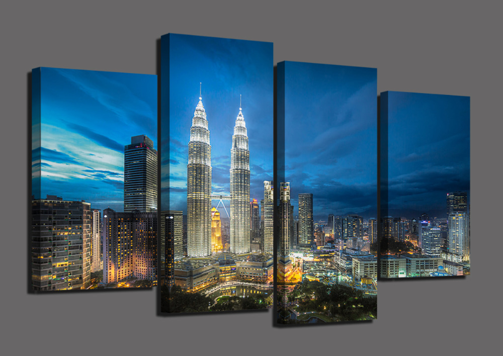 4 Panels Skyscrapers HD Canvas Print Landscape Painting Home Decor Wall Art Picture For Living Room Modular Picture Unframed