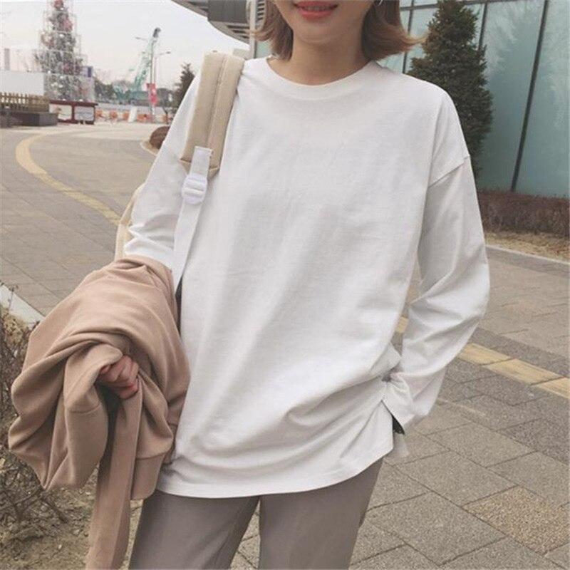 Women Loose T-Shirt Round Neck Harajuku Long Sleeve Tops Spring Autumn Oufits TT@88