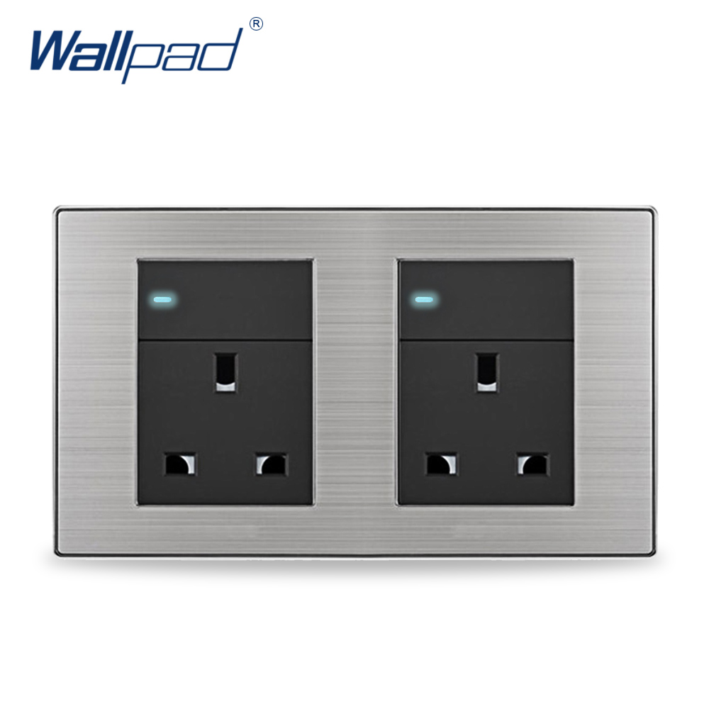 цена на 2018 Double 1 Gang 3 Pin 13A Socket Hot Sale China Manufacturer Wallpad Push Button Random Click Luxury Wall Light Switch UK