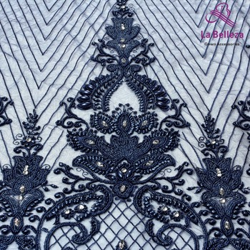 La Belleza 1 yard heavy handmade beaded lace fabric crystal lace Navy/red/ivory/gold wedding dress lace fabric 49'' width