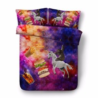 3D Printed blue purple galaxy Unicorn sloth Comforter Bedding Sets Twin Full Queen Super Cal King Size animal food bedspreads