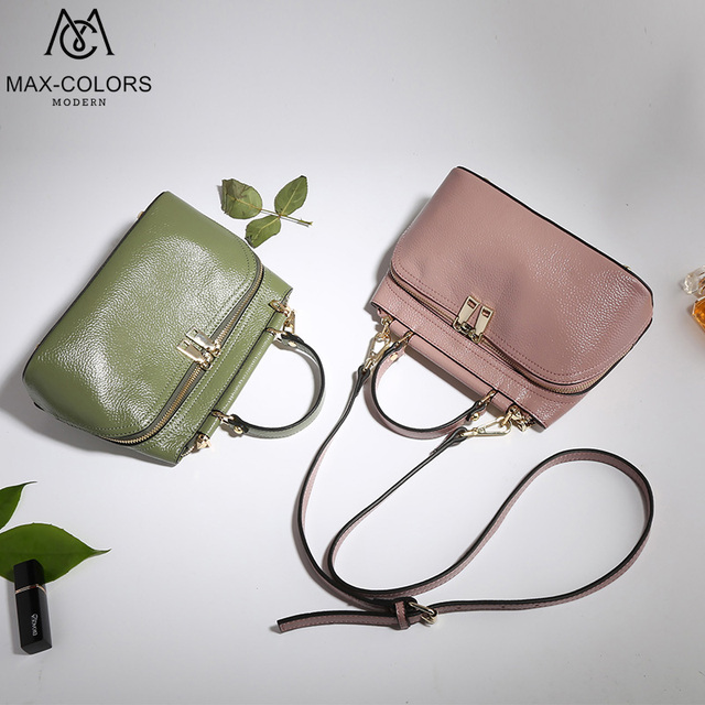 d9a7a086c1 MC Women Bag Genuine Leather Brand Handbag Colorful Outside Bags Style  Satchels Designer Female Fashion Tote Lady Shoulder Bag