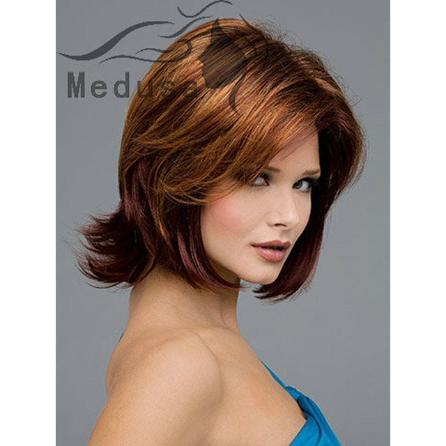 Celebrity Lady Wigs Medium Length Layered Synthetic Bob Haircut