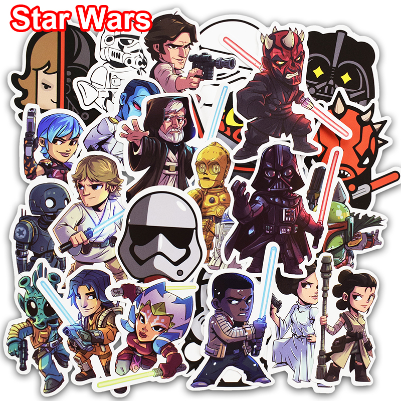 New 50 Pcs Star Wars Stickers for Skateboard Laptop Car Styling Bicycle Luggage Phone Vinyl Decal Cool PVC Waterproof Sticker 14cm 9cm fashion x wing star wars funny vinyl car styling decal car stickers black silver s6 3687