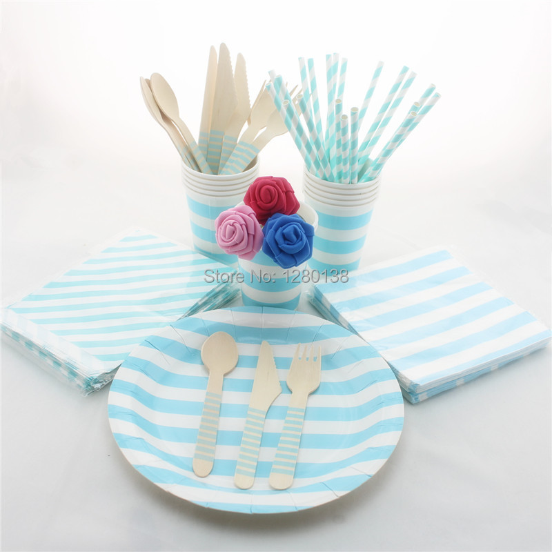 Wedding Decor Blue Striped Tableware 300 Sets Disposable Party Paper Napkins Plates Cups Bags Straws Wooden Fork Spoon Knift & NºWedding Decor Blue Striped Tableware 300 Sets Disposable Party ...