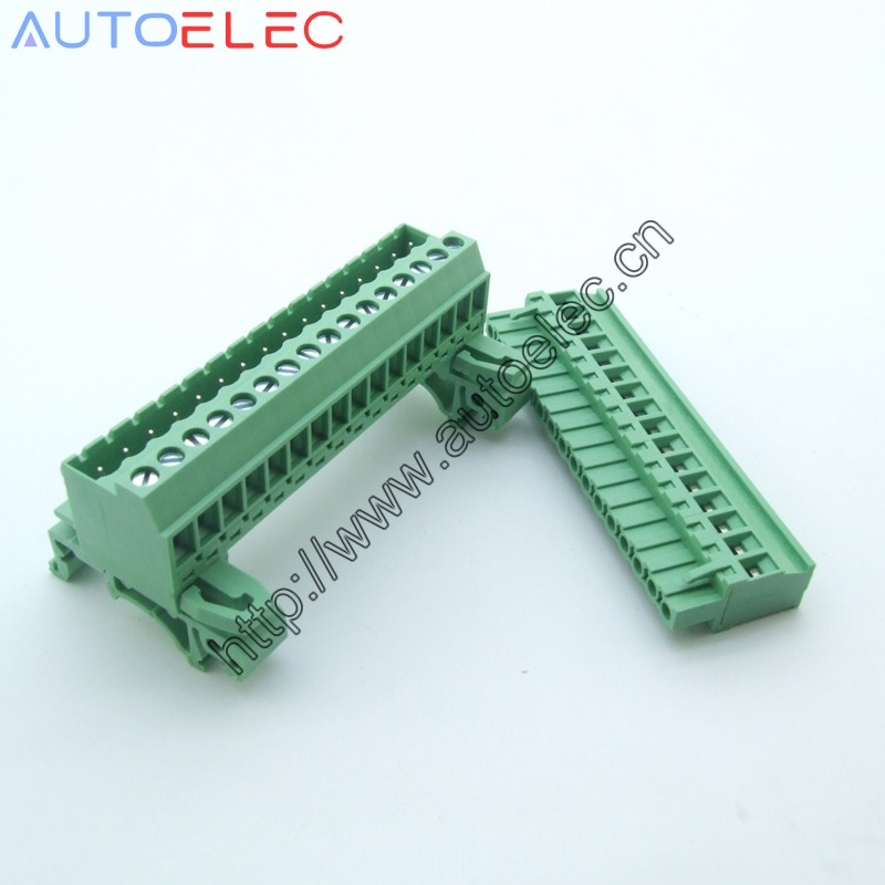10pcs Pitch 5 08mm 16pin Screw Plug in Terminal Blocks connector NS35mm Din Rail Mounting instead