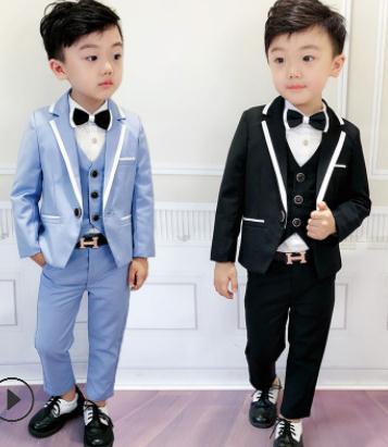 631740dbbe4b 2018 Formal Boy Suits Flower Slim Fit Tuxedo Brand Fashion black blue Wedding  Suit Blazer 3pcs coat + pants+vest boys suits