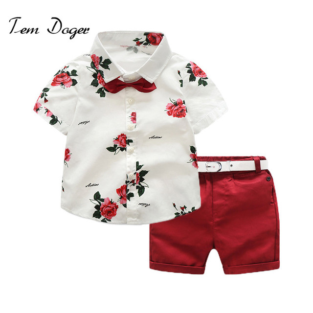 f4a5ece1d41 Tem Doger Kids Boys Summer Gentleman Suits Bowtie Short Sleeve Floral  Shirts + Red Shorts Set 2 Piece Outfits