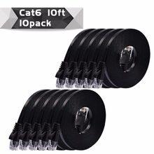 10 pacote 0.25 m, 50 cm, 1 m, 2 m, 3 m, 5 m, 10 mblack/whitecolor cat6 plano utp ethernet cabo de rede rj45 cabo de remendo lan cor branca/preta