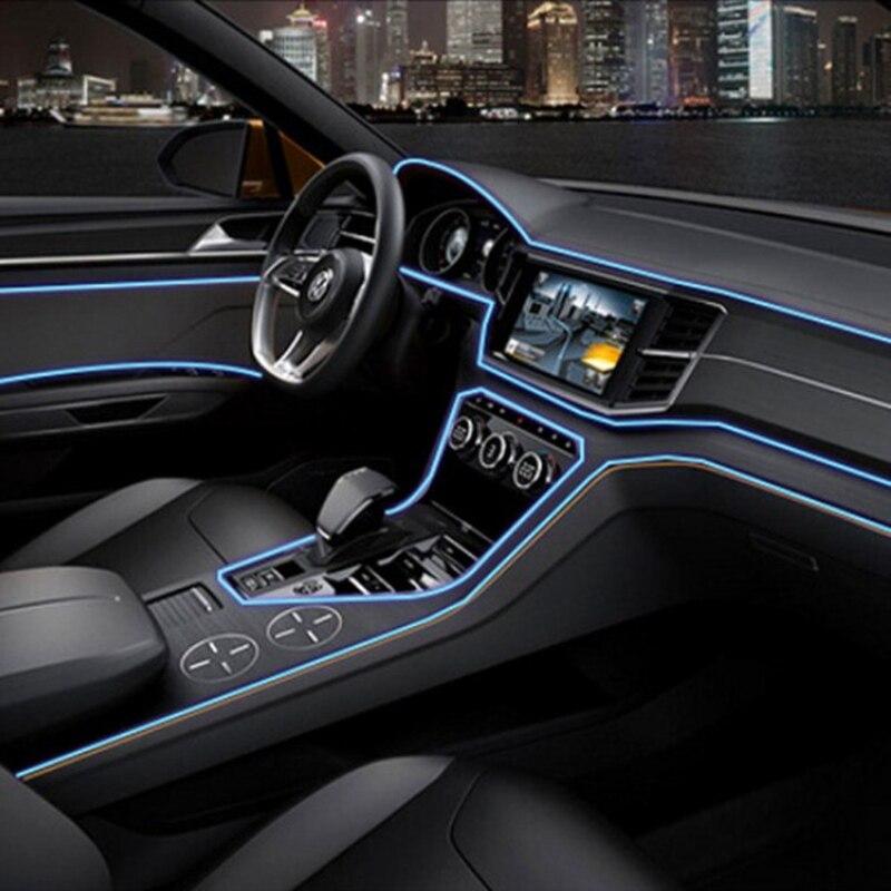 EL Draht Flexible Neonlicht-glühen Seil Band Kabel Led-streifen Wasserdichte Auto Automobil Innendekoration Lichter Auto-styling