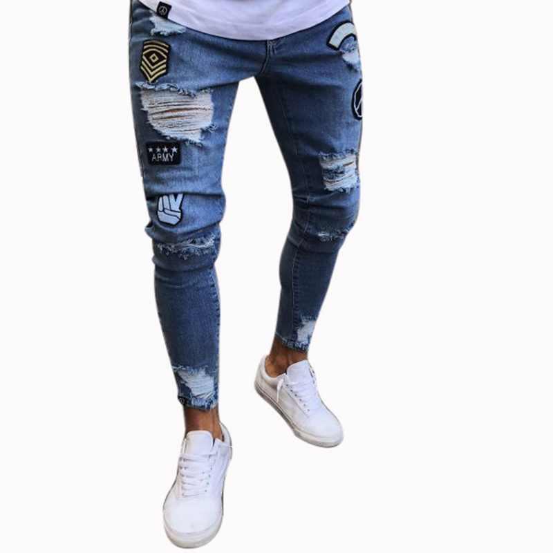 SHUJIN Sexy Ripped Holes Jeans Men Fashion Patchwork Straight Denim  Trousers Casual Streetwear Hip Hop Skinny 2b4015c1fd74