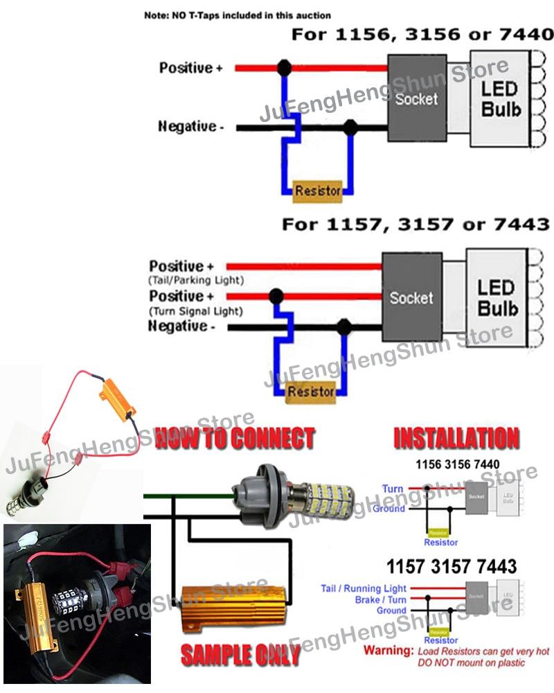 medium resolution of 50w load resistor 6 ohm fix led bulb fast hyper flash turn signal light blinker 1157 1156 3157 3156 12v car 6r resistors t tap in car light accessories