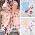 Summer Baby Girl Cotton kids clothes sets t-shirt+pants suit clothing set Letter Printed Clothes newborn sport suits T915