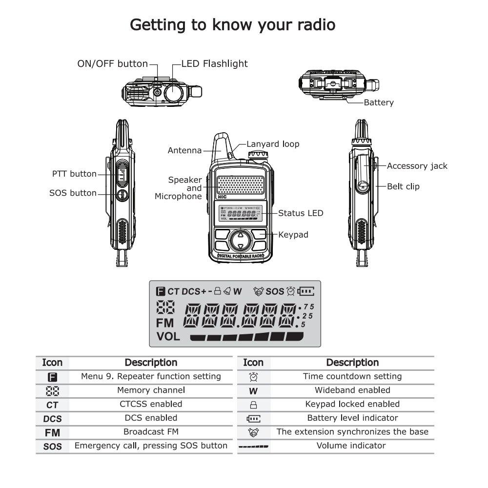 Image 5 - 2 pcs baofeng BF T1 mini portátil rádio em dois sentidos bft1 uhf  400 470 mhz 20ch ham fm transceptor walkie talkie com fone de  ouvidoWalkie-talkie