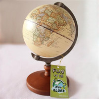 Antique lmitation English edition globe world map decoration earth globe Wooden base Geography terrestrial globe tellurion D4