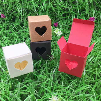 300Pcs/Lot 5x5x5cm Colorful Cube With Hollow Heart Paper Card Mini Storage Box For Adornment Display Pack Macaron Cup Cake Boxes