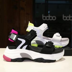 Image 3 - Сандалии женские из микрофибры, мягкие босоножки, Нескользящие, дышащие, толстая подошва, Повседневная модная спортивная обувь, лето