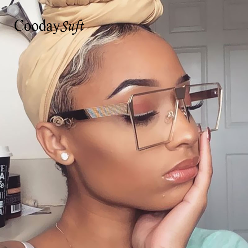 Coodaysuft Oversize Brand Designer Transparen Sunglasses Women Men Gradient Sun Glasses Big Lady Fashion Flat Top Eyeglasses