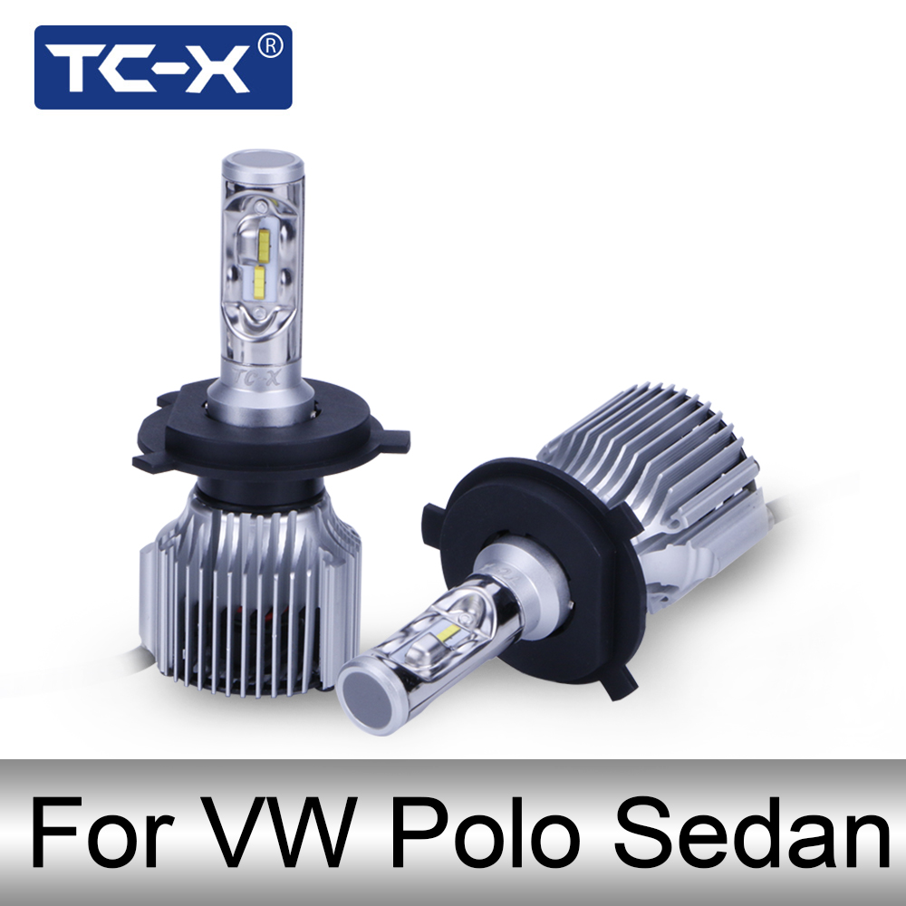 TC-X For VW Polo Sedan H4 Low High Beam LED Auto Lamp 9006/HB4 Fog Light EMC Canbus 6000 ...