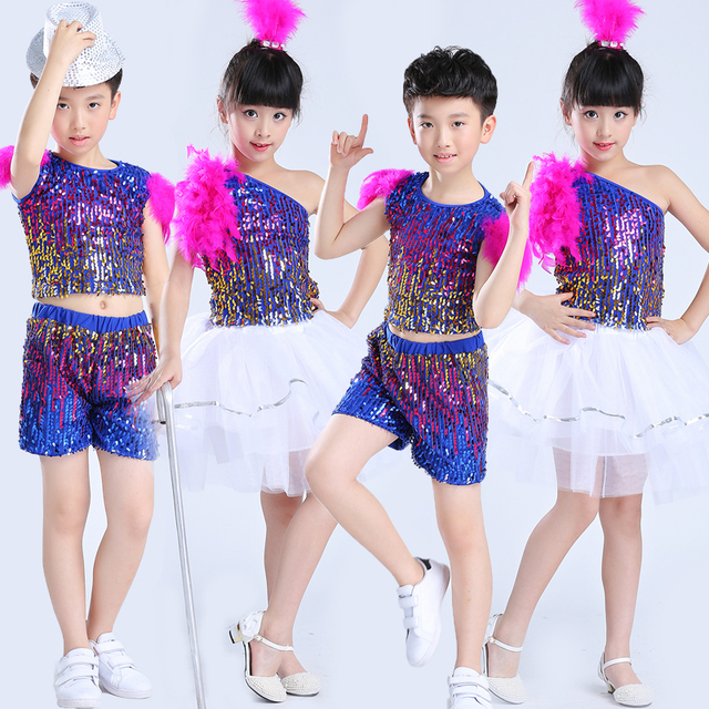 4ddc5833a24e Children Girl And Boy Jazz Dance Costumes Sequined Kids Hip Hop ...