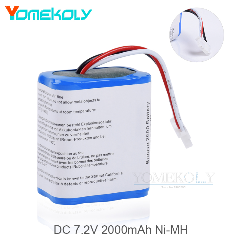 Vacuum Cleaner Replacement 7.2v 2000mAh Ni-MH Battery For iRobot Braava 380t Mint 5200 5200C Floor Mopping Robot Winbot Parts цена
