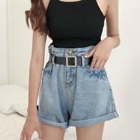 Vintage Curled Wide Leg Shorts Female Loose High Waist Jeans Shorts 2018 Harajuku Blue Casual Summer Denim Short Feminino Gifts