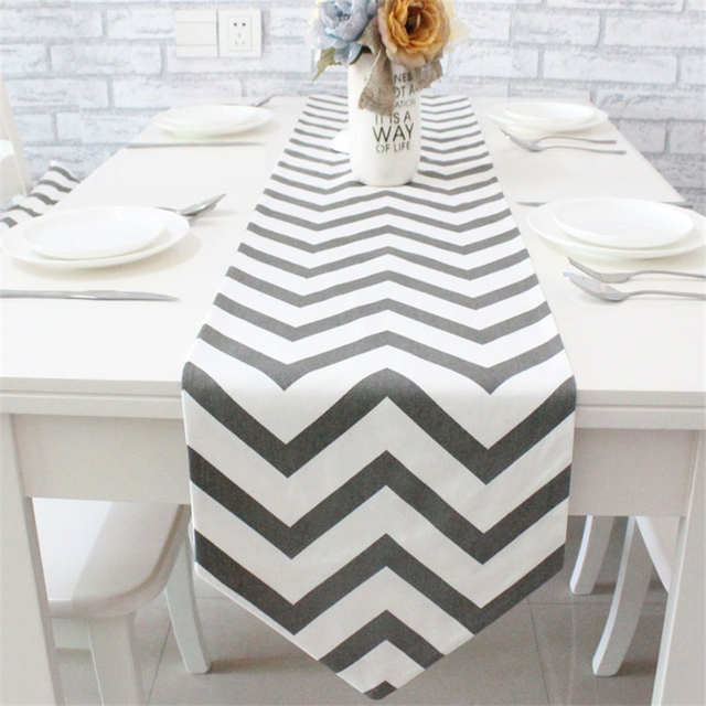 European Simple Style 100% Cotton Stripe Table Runner 5 Types Table Cloth  Soft U0026 Non