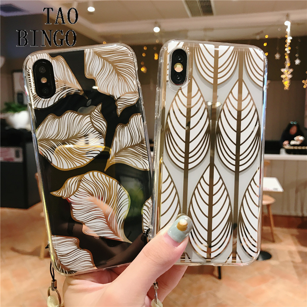Art Luxury Gold Foil Leaf Line Soft Phone Case for IPhone X XS Max XR 6S 6 7 8 Plus Case Transparent TPU Cover for IPhone 7 Case