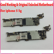 1000% Good Working & Original Unlocked for iphone 5 Mainboard,16gb For iphone 5 5g Motherboard with Chips Free Shipping