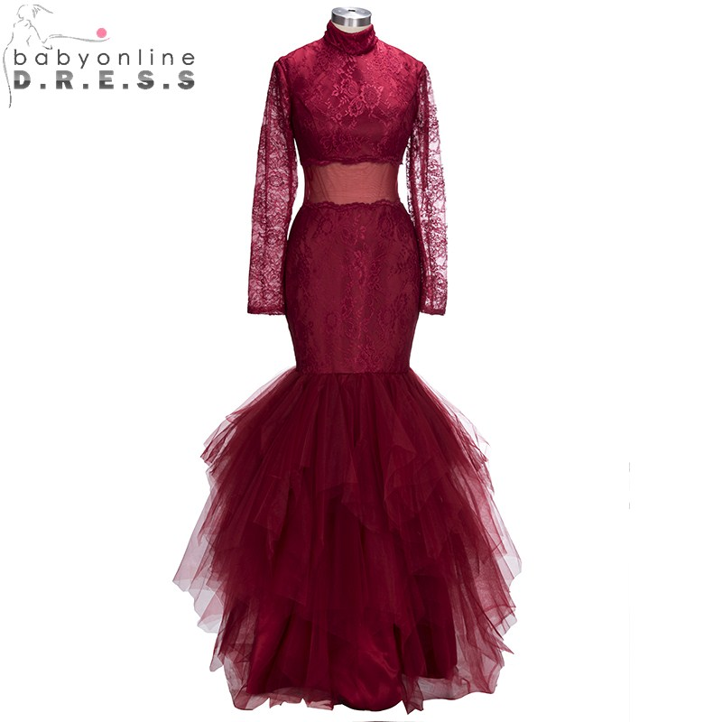 Babyonlinedress Charming Long Sleeve Burgundy Mermaid   Prom     Dresses   Real Photo Sexy High Neck Lace Ruched   Dresses   Vestidos