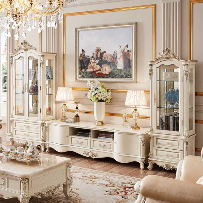 европейский стиль роскошный тв стенд набор белая мебель для
