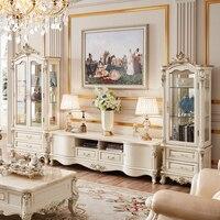 Европейский стиль роскошные ТВ Стенд набор белый мебель для гостиной твердой древесины винный шкаф