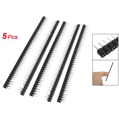 WSFS Hot 5 Pcs 40 Pins Single Row Round Header Socket Connector Female