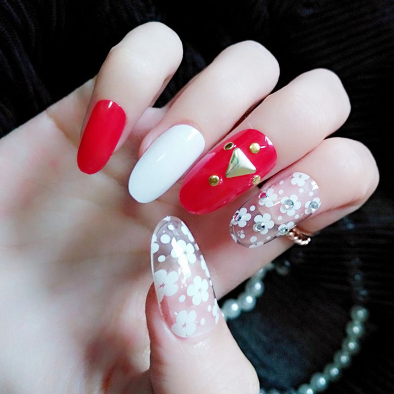 Clear Medium Oval Fake Nail White Red False Nails Flowers 3D Rivet ...