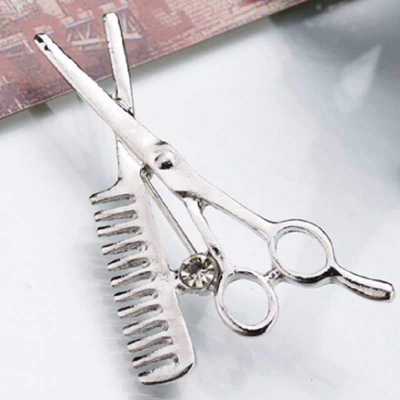 Fashion Comb Scissors Brooch Hat Collar Clips Bijoux Austrian Crystal Hijab Pins Up Brooches for Wedding Girl Jewelry Gifts in Brooches from Jewelry Accessories