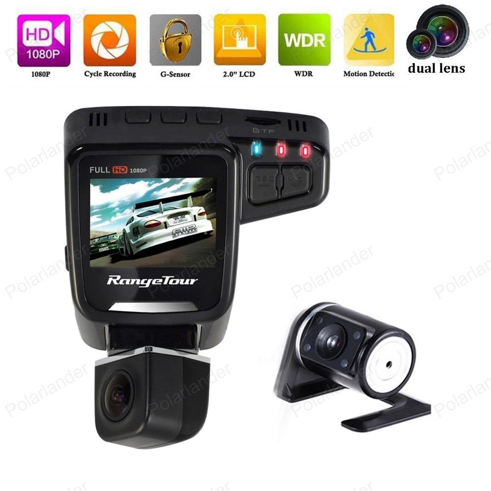 2.0 pouces Full HD 1080 P double lentille voiture DVR C10s Plus g-sensor Dash caméra LCD 170 degrés WDR enregistreur vidéo