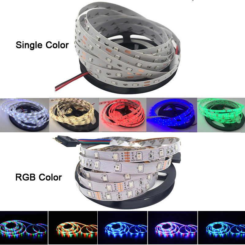 5 mètres 300Led Non LED rgb imperméable Bande Lumière 2835 DC12V 60leds/M Flexible D'éclairage Ruban Blanc/Blanc Chaud/Bleu Bande
