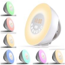 Wake Up Alarm Clock Sunrise Luminous Digital Clock with FM Radio 7 Colors Changing Night Light Touch Control Snooze Table Clocks недорого
