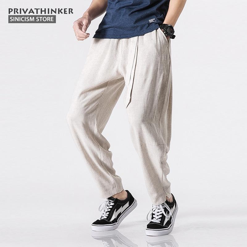 Sinicism Store Size Plus 5XL Cotton Linen Harem Pants Men Belt Jogger Pants Male Trousers Chinese Traditional Cloths(China)