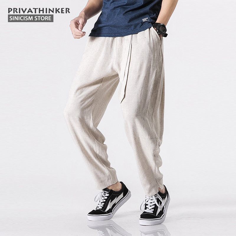 Sinicism Store Size Plus 5XL Cotton Linen Harem Pants Men Belt Jogger Pants Male Trousers Chinese Traditional Cloths