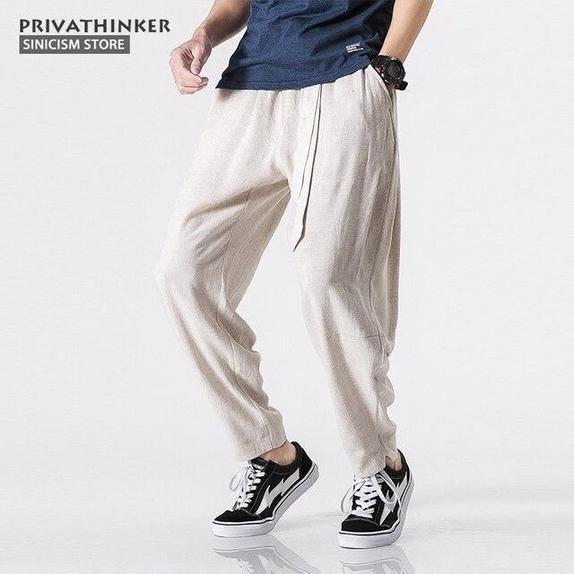 bda5288a564 Sinicism Store Size Plus 5XL Cotton Linen Harem Pants Men Belt Jogger Pants  Male Trousers Chinese