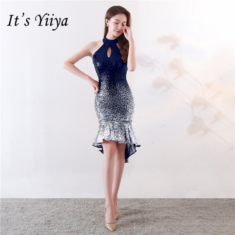It's Yiiya Halter   cocktail     dress   Sleeveless zipper back knee-length Sexy party gowns Red Blue shinny Sequined Party   dresses   C143