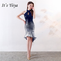 It's Yiiya Halter cocktail dress Sleeveless zipper back knee length Sexy party gowns Red Blue shinny Sequined Party dresses C143