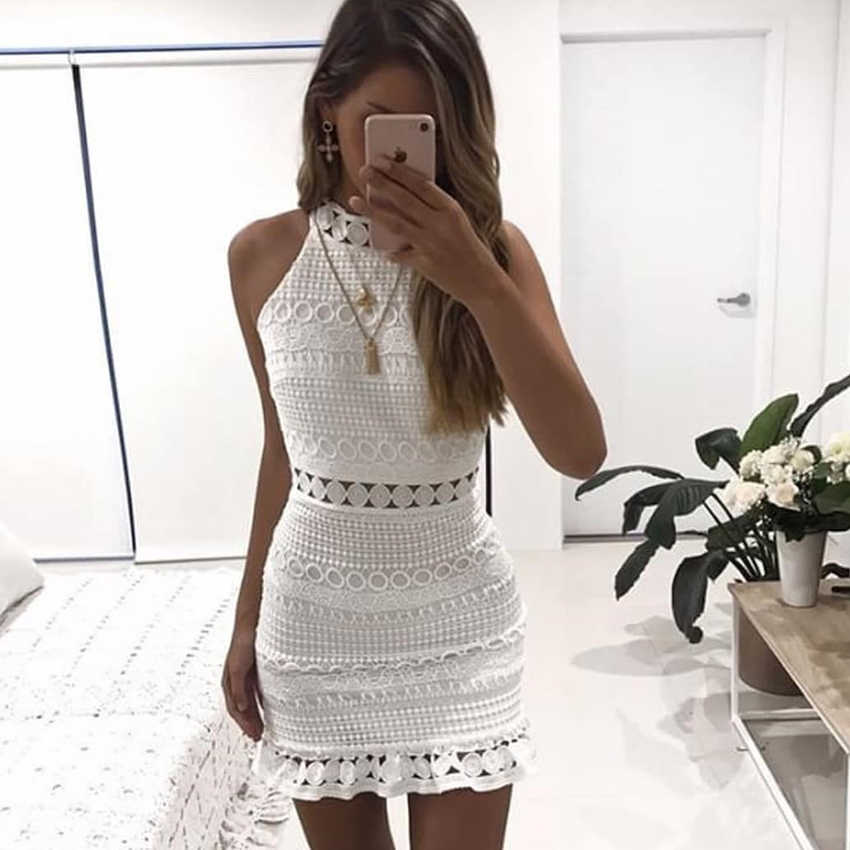 New hollow out lace dress women Elegant sleeveless cotton white dress  summer chic party sexy dress df0c9b91d54b