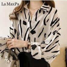 e27897cb34 Z długim rękawem szyfonowa bluzka duży rozmiar wydruku góry 2019 moda kobiet  topy jesień ręcznie malowane
