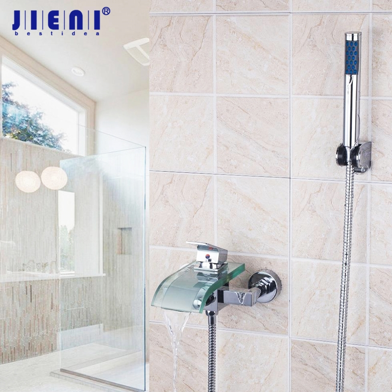 Chrome SIingle Handle 8207/4 Contemporay Wall Mounted Clear Glass Spout With Handheld Shower Tap Mixer Faucet casima st 8207 s8